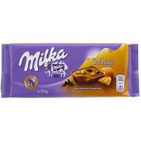 Ciocolata cu caramel, biscuiti si bucatele de ciocolata Collage 93g Milka