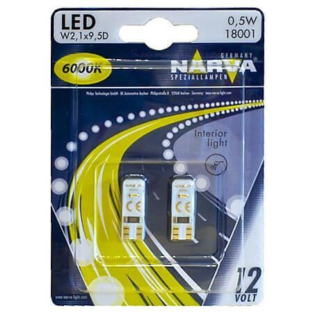 Bec auto cu LED, 2 bucati, W5W, 6000K, 12V, Narva