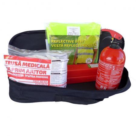 Kit siguranta: trusa medicala, 2triunghiuri ,stingator, vesta +geanta depozitare