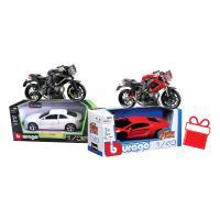 Pachet cadou baieti masinute si motocicleta Bburago – 3 produse
