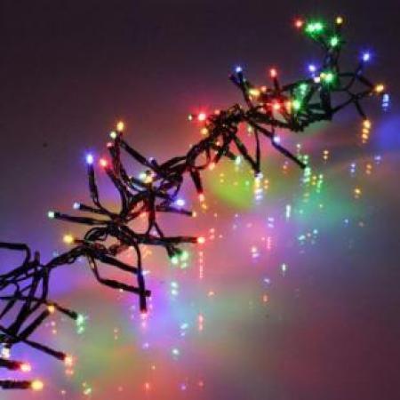 Ghirlanda electrica luminoasa decorativa cu LED multicolor cablu negru WEL